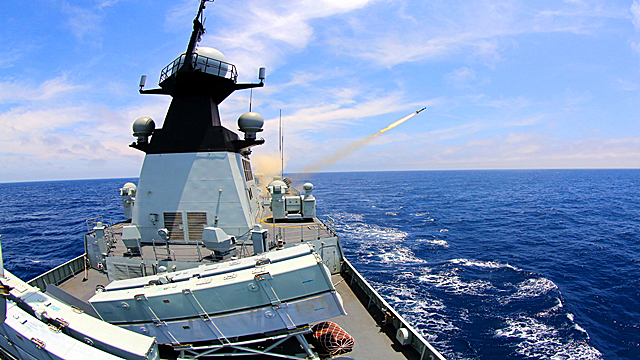 Frigate Jingzhou fires depth charges in East China Sea