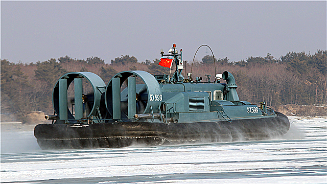 LCAC patrols on icy water