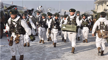 Army soldiers conduct combat readiness training during Spring Festival holiday