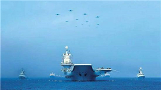 China's first aircraft carrier Liaoning and its formation training in South China Sea