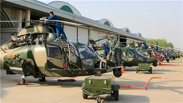 Phase maintenance on Z-9 attack helicopters