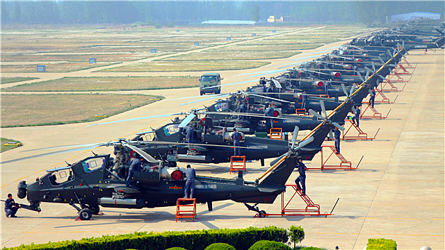 WZ-10 attack helicopters receive maintenance