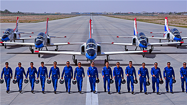 Pilot cadets fly their JL-8 jet trainers