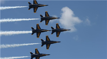 Air show performed by Blue Angels at U.S. Naval Academy in Annapolis, Maryland, U.S.