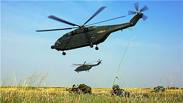 Z-8 transport helicopters fly during training exercise