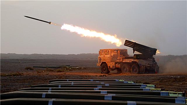 Rocket launcher system fires at mock targets