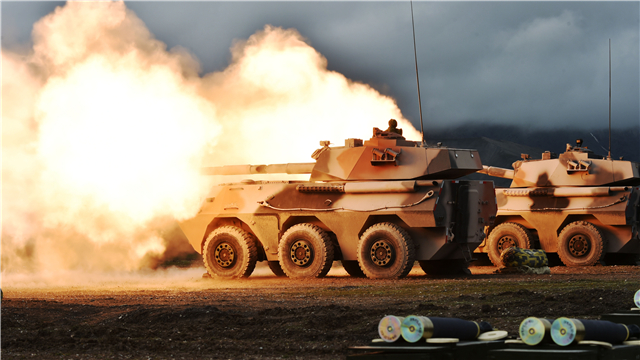 PTL-02 tank destroyers fire at targets