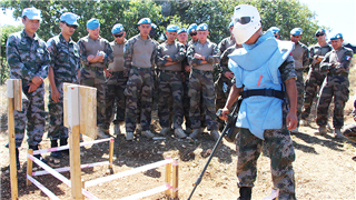 Chinese, French peacekeepers share experience on mine clearance and EOD