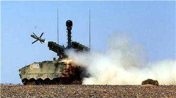 HJ-10 anti-tank missile fires in desert