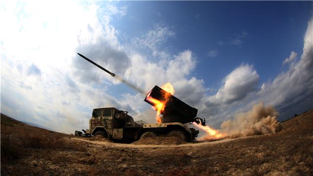 122mm rocket launcher fires in Gobi Desert