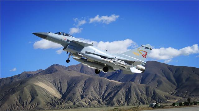 J-10 fighter jet takes off for patrol mission