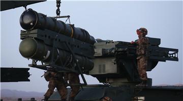 Air-defense missile system fires at mock targets