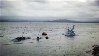 Norway's frigate almost completely under water after collision with oil tanker