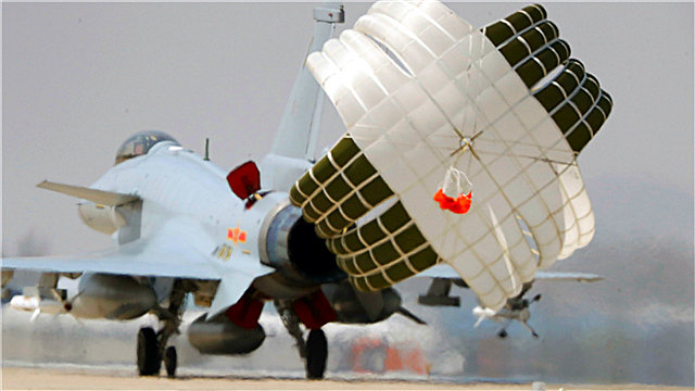 J-10 fighter jet deploys drogue parachute after landing