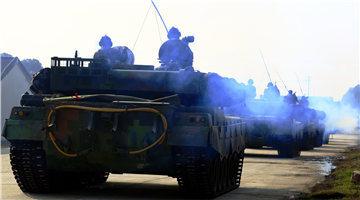 Main battle tanks en route to training field