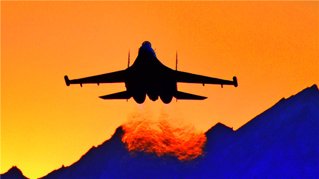 Fighter jets fly over plateau area