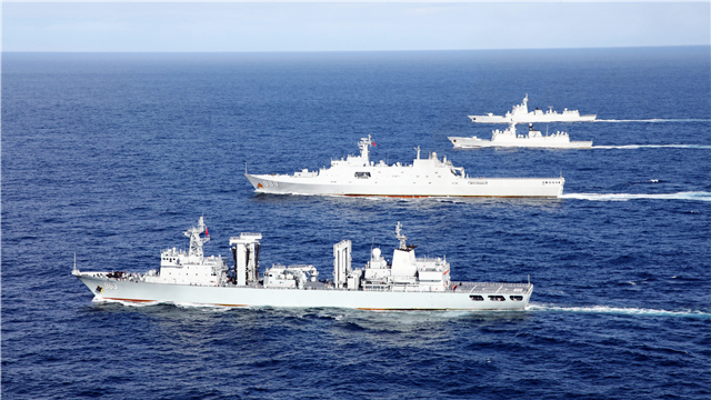Far-sea training flotilla steams in Pacific Ocean