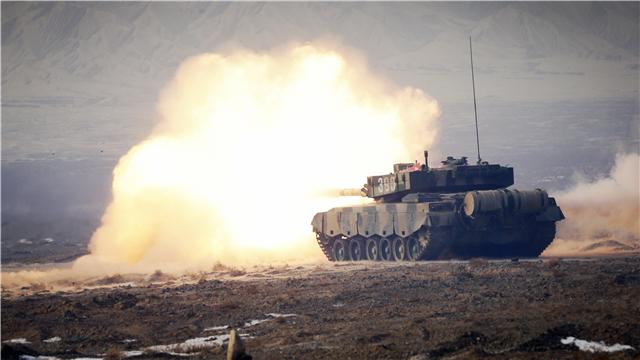 ZTZ-96A MBT fires at mock targets