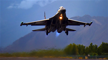 Fighter jets take off at night