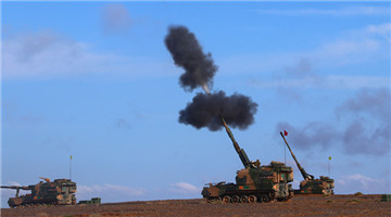 Gun-howitzers fire in Gobi desert