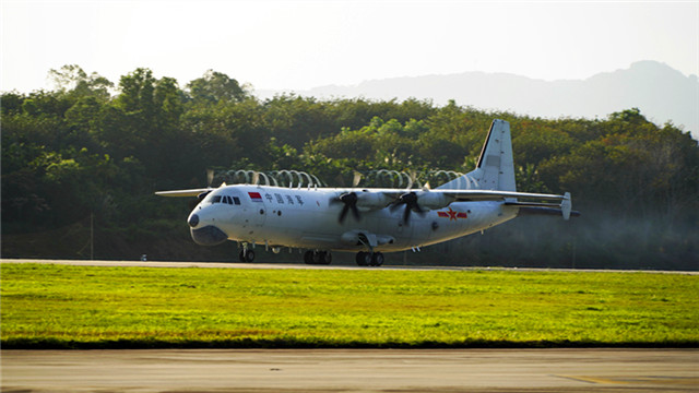 Naval special mission aircraft take off for missions