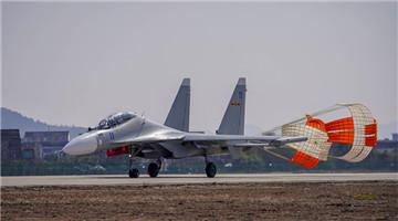 Fighter jet engines start up for flight tasks