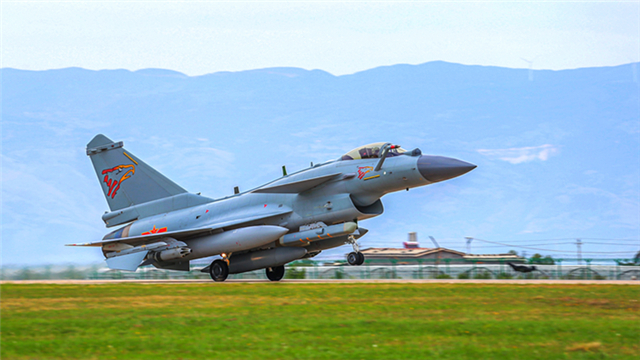 J-10 fighter jets take off for combat training