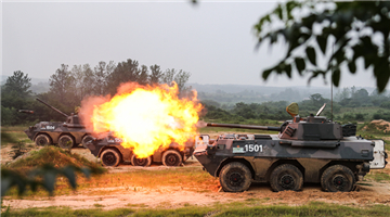 Self-propelled howitzers fire against remote targets