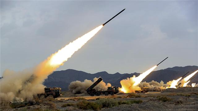 Rocket launchers fire at mock targets