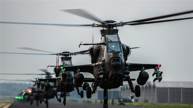 Attack helicopters ready to lift off
