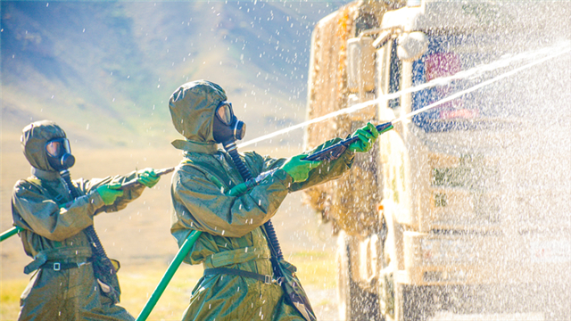 Chemical defense troops take samples from scenario affected area
