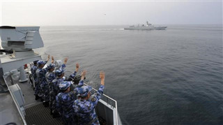 Chinese naval escort taskforces conduct mission handover in Gulf of Aden
