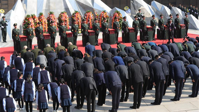 Burial ceremony held in Shenyang for remains of 117 Chinese soldiers killed in Korean War
