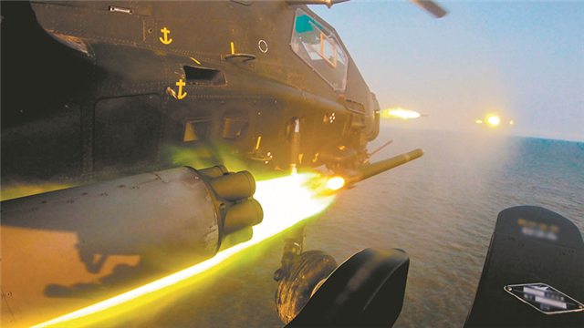 Army aviation brigade trains near Bohai Bay