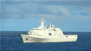 Dock landing ships steam in South China Sea