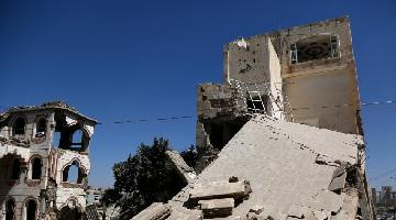 Aftermath of air raid in Sanaa, Yemen