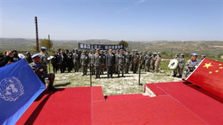 Chinese peacekeepers to Lebanon pay tribute to Chinese martyr Du Zhaoyu