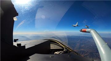 Fighter jets execute patrol flight
