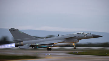 J-10 fighter jet makes straight takeoff run in flight training