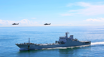 Army helicopters coordinate with naval landing ships in joint training