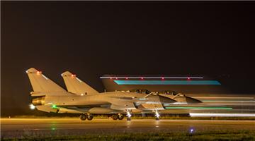 Fighter jets get ready for midnight flight