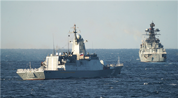 Chinese and Russian naval vessels transit simulated mined zone in Joint Sea-2021
