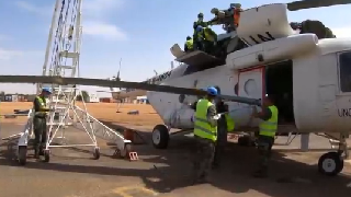 China's peacekeeping helicopter in Sudan replaces two blades and one engine